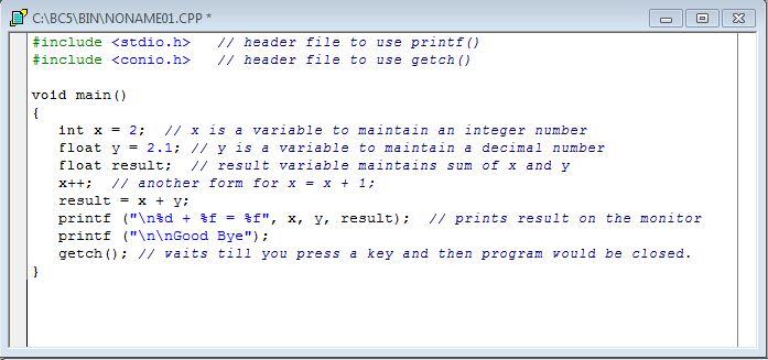 نمایش مجموع دو عدد صحیح(int) و اعشاری(float)